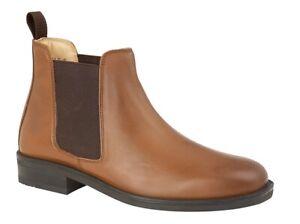 Mens Tan Leather Chelsea Elastic Gusset Padded Boot Roamers Fuller Fit Size 12