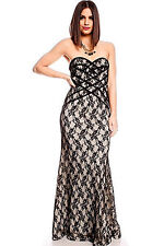 BLACK NUDE SHEER STRAPLESS FLORAL LACE DESIGN MAXI LONG FORMAL PROM DRESS MEDIUM