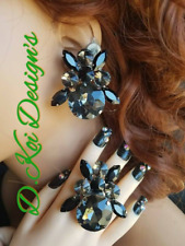 drag queen jewerly new clip on large show pageant dragqueen jet button