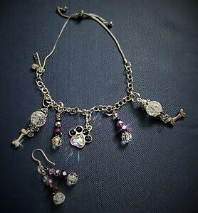 Artisan Silver Bracelet / Earring Set - Swarovski Crystal Dog Paw / Czech Beads