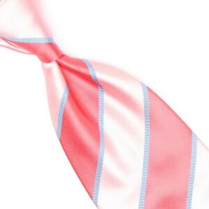 David Donahue Mens Silk Necktie Pink Blue Satin Stripe Tie Made in USA