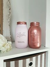Painted Metallic Rose Gold & Pale Pink Mason Jars set of  2