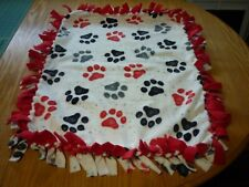 Handmade Plush fleece tie blanket of watercolor paws for a small pet