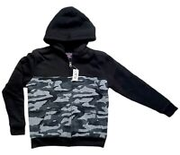 The Childrens Place Boys Blk Gray Camo Zip Up Sherpa Lined Hoodie Jacket L 10/12