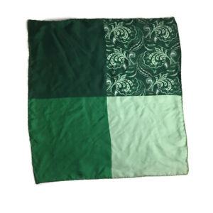 "New Men's 4 Panel Pocket Square 15.5"" X 16"" Green Paisley"