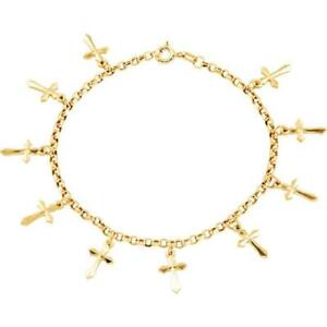 14K Yellow Gold Cross Bracelet