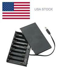 12V 8 x AA Cell Battery Clip Holder Box Case with Cover ON/OFF Switch Wire Lead