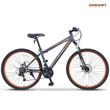 "27.5"" Shimano Men's Mountain Bike Hybrid 21 Speed Bicycle Sports Grey & Orange"
