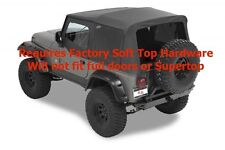 1988-1995 Jeep Wrangler Replacement Soft Top Upper Doors & Tinted Windows Black