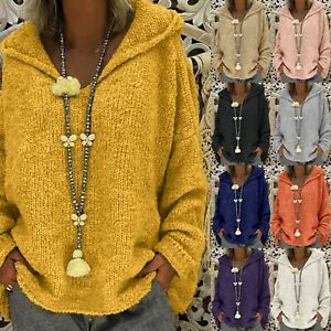 Womens Oversized Long Sleeve Knitted Hooded Sweater Hoodie Pullover Tops Jumper