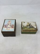 Lot Of 2 Vintage Music Boxes With Kids On Top Laurel