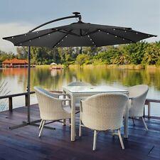 Lujoso parasol con iluminación LED quitasol 300 cm jardín carpa paraguas