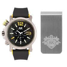 AK Men Fashion Gift Set Silver Quartz Silicone Sport Watch Engraved Money Clip