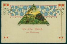 Art Nouveau Flowers Landscape Wishes Relief TSN 833 PIN HOLE postcard TC2803