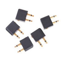 5Pcs 3.5mm pro airline airplane golden plated headphone jack plug adapter gp