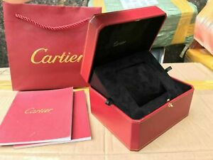 New Cartier Wooden Black Red Watch Box case Luxury Vintage RARE Booklet Pillow ♚