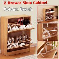 2 Drawer Wooden Shoe Cabinet Storage Cupboard Shoe Rack Unit Footwear Stand NEW