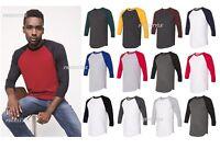 American Apparel 50/50 Three-Quarter Sleeve Raglan T-shirt Men's Tee BB453W SALE