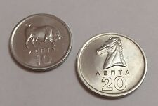 Greece 10 and 20 lepta coin 1976 Bull-Horse UNC