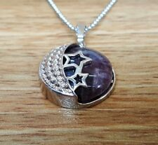 Amethyst Fashion Pendant Reiki Chakra Healing Necklace Moon and Stars