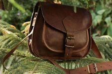 Women Vintage Brown Leather Messenger Cross Body Bag Handmade Purse