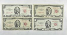 Lot (4) Red Seal $2.00 US 1953 or 1963 Notes - Currency Collection *368