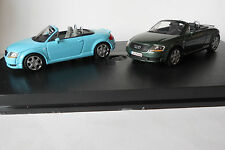 Audi TT Roadster 1 Turquoise & 1 Green 1/43 Minichamps Display Case 2 Cars