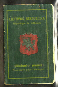 Lithuania; UZSIENIO PASAS (Foreign Travel Passport); ISSUED 1928 to MOTHER AND H