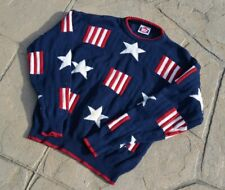 VTG 90s American Flag Knitted Sweater Mens Size L