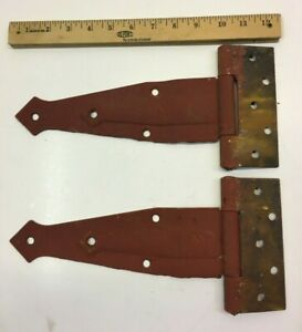 2 VINTAGE 12'' FARM BARN DOOR GATE HAND FORGED STRAP HINGES GREAT RED PATINA