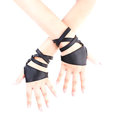 JISEN Women Half Palm Fingerless PU Leather Night Bar Band Up Punk Party Gloves