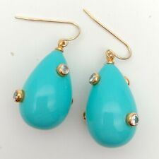 Turquoise Blue Teardrop Sea Shell Pearl Cz Pave hook Earrings