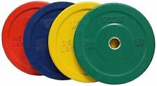 Troy VTX 230lb Colored Olympic Rubber Bumper Plates Weight Set for Fitness