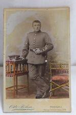 Militaria Cabinet Foto coloriert Soldat Uniform um 1900