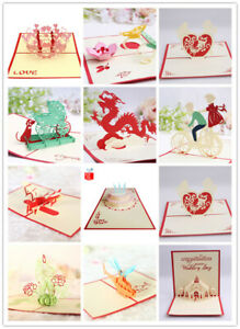 Handmade 3D greeting CARDS for Christmas mother's day and valentine's day Gift