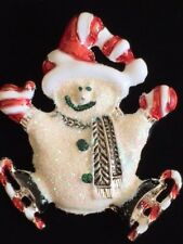 GLITTERY HAPPY CANDY CANE ICE SKATE SKATING FROSTY SNOWMAN PIN BROOCH JEWELRY 2""