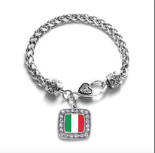 Italian Flag Braided Silver Inspired Bracelet with Crystal Charm NEW