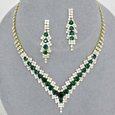 Emerald green gold tone diamante jewellery set sparkly brides proms party 0346