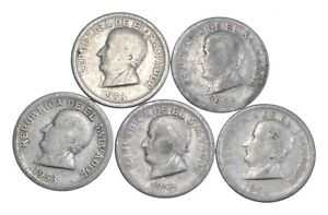 Lot of 5 El Salvador 1953 25 Centavos Silver Coin Lot - Rare one Year Issue *704