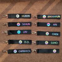 Kpop EXO Laser Logo Name Keychain BAEKHYUN KAI SUHO XIUMIN Phone Bag Keyring