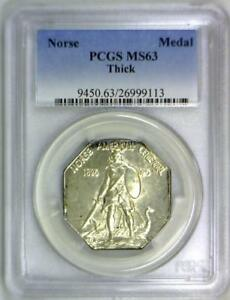 1925 Norse American Centennial Silver Medal PCGS MS-63; Thick Variety