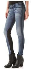 NWT RAG & BONE JODHPUR Blue Denim Jeans w  Lamb Leather Black Panels Sz 24 FLAW
