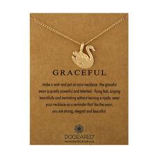 Collier Cygne Gracieux Pendentif chaîne bronze or rose cadeau Wish Carte