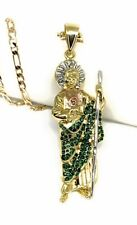 "San Judas Tadeo Medalla Gold P Saint Jude Pendant Necklace 24"" Cadena Oro Lamina"