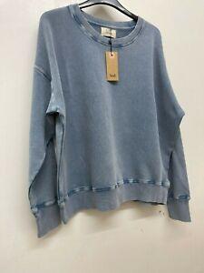 Hush Contrast Stitch Sweatshirt, Washed Blue RRP £55