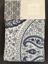 ENVOGUE Paisley Circle Medallion Shower Curtain-Blues & White -100% Cotton