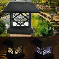 Solar Powered LED Outdoor Garden Post Deck Cap Square Patio Landscape Light Lamp