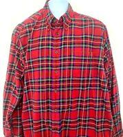 Eddie Bauer Mens Button Down Shirt Long Sleeve Red Plaid Cotton Size Large