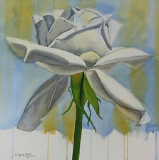 White Rose, Flower, Garden, Original Watercolor Painting, Signed, Art Deco