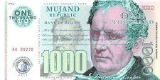 Mujand Republic Banknote 1000 Zilchy 2013 Unc Specimen, Private, Note